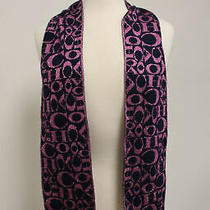 Coach Navy Metallic Pink Logo Print Rectangle Scarf Photo