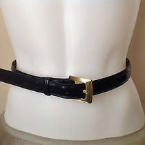 Coach Navy Polished Cowhide Leather Womens Belt Small 8510 Solid Brass Buckle Photo