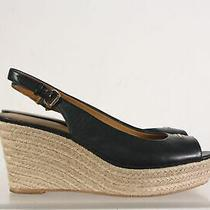 Coach Navy Tan Women's Slingback Wedge Peep Toe Sandals Size 9 Photo
