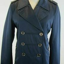 Coach Navy Twill Double Breasted Short Peacoat Pea Coat Rain Jacket M Photo