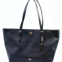 Coach New Blue Navy Gold Crossgrain Leather Turnlock Zip Bag Tote Purse 295-04 Photo