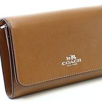Coach New Brown Saddle Silver Boxed Envelope Phone Clutch Leather 99- 057 Photo