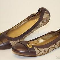 Coach New Chelsea Womens 6.5 B Brown Signature Logo Ballet Flats Shoes Aic Photo