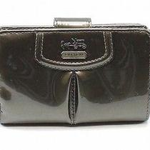 Coach New Pewter Grey Snap Zip Around Madison Patent Leather Wallet 158 021 Photo