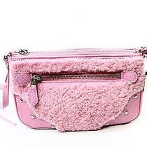 Coach New Pink Marshmallow Leather Rhyder Pochette Shearling Bag Purse 195 45 Photo