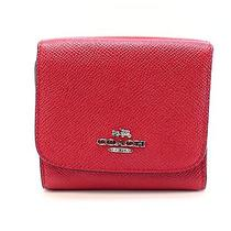 Coach New Red Carmine Gold Crossgrain Leather Small Trifold Wallet 99- 054 Photo
