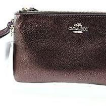 Coach New Red Pebble Leather Double Zip Around Oxblood Wristlet Wallet 145 045 Photo