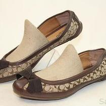 Coach New Saundra Womens 7.5 B Brown Sig Logo Leather Ballet Flats Shoes Gb Photo