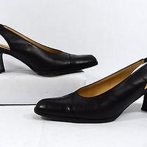 Coach New York Black Leather Cap Toe Slingback Heels Size 8b Made in Italy Photo
