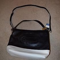 Coach New York Embossed Leather Black/white Bag G1220-19393 Short & Long Straps Photo