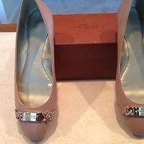 Coach New York Flat Leather Shoes Warm Blush Style A00196 Size 8 M Gold Logo Photo