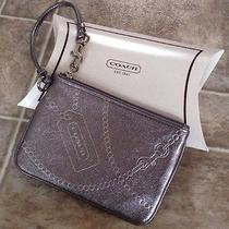 Coach New York Metallic Gray Leather Clutch Wallet Bag New Photo