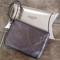 Coach New York Metallic Gray Leather Clutch Wallet Bag New Photo