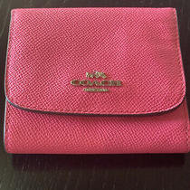 Coach New York Pink Crossgrain Threefold Small Wallet Photo
