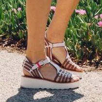 Coach New York Putnam Huarache White Brown Leather Platform Wedge Sandals 7m Photo