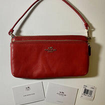 Coach New York Red Leather Double Zip Wristlet/wallet F64581 Photo