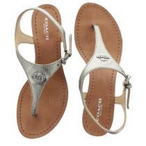 Coach New York Silver Vitalia Womens Wedge Thong Sandals Calf Leather Shoes 5b Photo