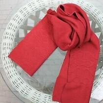 / Coach New York Womens Knit Scarf Signature Red Size 83x10 1/2 Photo