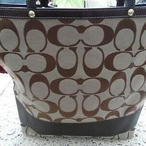 Coach No J0668-10126 Tan & Brown Signature Logo Travel Bag/tote Bag/weekender Photo