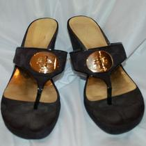 Coach Noble Signature Black Wedge Sandal Shoes 9 M Nib Photo