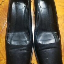 Coach Noreen 9b Shoes Black Leather Pump Heels Made in Italy Square Heels Photo