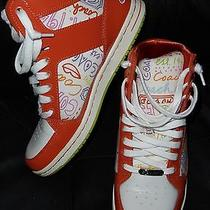 Coach Norra Women's Orange-White High Top Sneakers Athletic Shoes Sz 8 Light Use Photo