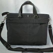 Coach Nwot Black Microfiber & Leather Unisex Briefcase Messenger Bag 70211 Photo