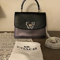 Coach Nwt 72615 Butterfly Turnlock Exotic Parker Top Handle Black Multi Handbag  Photo