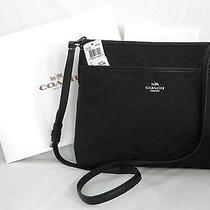 Coach Nwt F36378 Signature File Bag Black/silver Coach Gift Box/tissue Paper Photo