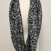 Coach Nwt Gray Black Logo Print Infinity Scarf 98 Photo