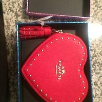 Coach Nwt in Box Red Heart Coin Purse Photo