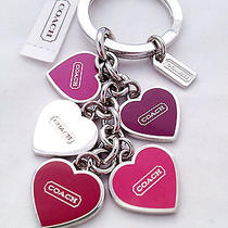 Coach Nwt Keyring Keychain Heart Charms Plated Metal F66398 Purple and Red Photo