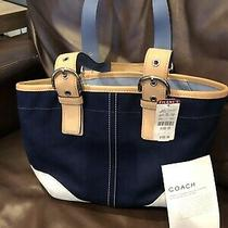 Coach Nwt Med Blue & White Tote With Zippered Closure Photo