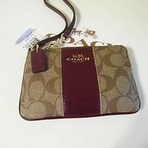 Coach Nwt Small Wristlet in Khaki Signature and Sherry Red Photo