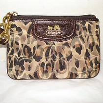 Coach Ocelot/leopard Print Wristlet Signature Jacquard/drk Brown Leather Photo