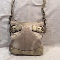 Coach Off White Fabric Crossbody Handbag With Gold Leather Trim Photo