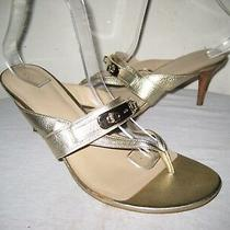 Coach Olina Leather Thong Slide Heels Sandals Shoes Women's Size 40 / 10 B Photo