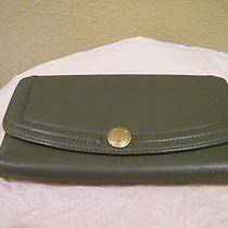 Coach Olive Green Leather Checkbook Wallet in Euc Photo