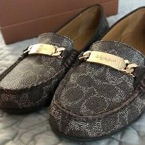 Coach Olive Signature Embossed Pvc Loafers A00261 Size 9 Us Black-Bark Chestnut Photo