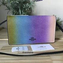 Coach Ombre Rainbow Leather Foldover Crossbody Bag Clutch Wallet Purse Handbag Photo