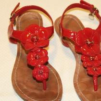 Coach Omega Red Patent Leather Flat Sandals Size 7 ( M b) Photo