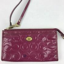 Coach Op Art Hot Pink Patent Leather Clutch Purse Wristlet Wallet Photo