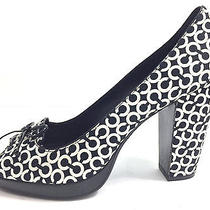 Coach Op Art Signature C Black & White Peep Toe Shoes Heels Pumps Sz 8 Photo
