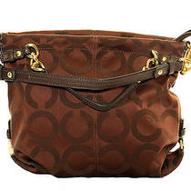 Coach Op Art Signature Ebony Brooke Hobo Bag 14147m Nwot Photo