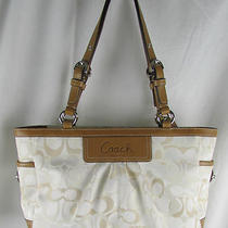 Coach Optic Art Signature Pleated Gallery Tote Purse Bag F13762 White Tan Ivory Photo