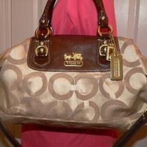 Coachoptic C Sabrina Khaki Sateenbrown Leather Trim Satchel/ Sh. Bag  12943 Photo