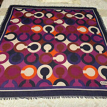 Coach Optic Script Scarf F83966 Square 42 X 42 Purple Multi Color Polyester  Photo