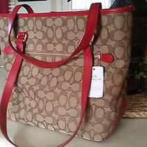 Coach Outline Sign Zip Top Tote Handbag in Khaki True Red F 55364 270 Photo