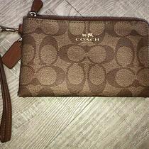 Coach Outline Signature C Corner Zip Wristlet Wallet in Khaki/brown Photo