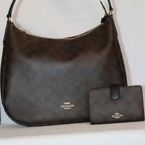 Coach Outline Zip Signature Jacquard Handbag & Matching Wallet - Black/smoke Photo